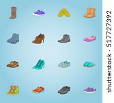 shoes icons set. cartoon... | Shutterstock .eps vector #517727392