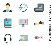 translation of language icons... | Shutterstock .eps vector #517727716