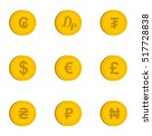 currency icons set. flat... | Shutterstock .eps vector #517728838