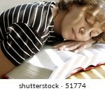 tired girl is sleeping on her... | Shutterstock . vector #51774