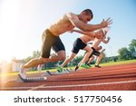 male athletics runners on... | Shutterstock . vector #517750456