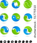 set of  blue and green yin yang ... | Shutterstock .eps vector #51775510