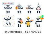 set of panda characters posing... | Shutterstock .eps vector #517764718