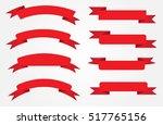ribbon banner set.vector red... | Shutterstock .eps vector #517765156
