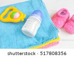 baby bottle with milk and towel ... | Shutterstock . vector #517808356