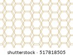 golden lines  hexagons  rhombs... | Shutterstock .eps vector #517818505