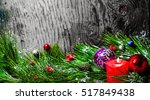 christmas background wooden | Shutterstock . vector #517849438