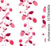 vector strawberry seamless... | Shutterstock .eps vector #517856806