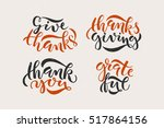 hand drawn thanksgiving... | Shutterstock .eps vector #517864156