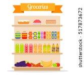 supermarket shelves with... | Shutterstock .eps vector #517873672