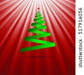 christmas tree green ribbon...   Shutterstock .eps vector #517916056
