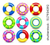 colorful rubber swim rings set... | Shutterstock . vector #517934392