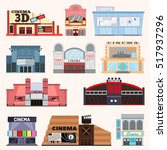 cinema building vector set. | Shutterstock .eps vector #517937296
