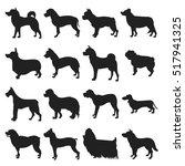 set of breeds dogs silhouette | Shutterstock .eps vector #517941325
