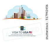 visa to usa. travel to usa.... | Shutterstock .eps vector #517942456