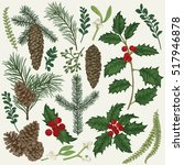 vector set with christmas... | Shutterstock .eps vector #517946878