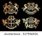 vector heraldic set of... | Shutterstock .eps vector #517946926