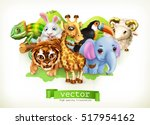funny animal group. cute... | Shutterstock .eps vector #517954162