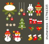 set of christmas icons isolated.... | Shutterstock .eps vector #517961335