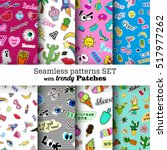 seamless patterns set with... | Shutterstock .eps vector #517977262