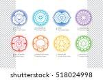 chakras set    ayurveda ... | Shutterstock .eps vector #518024998
