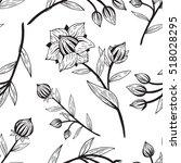 flower plants  line pattern   Shutterstock .eps vector #518028295