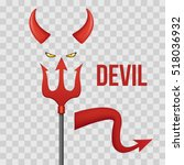 devil horns  trident  eyes and... | Shutterstock .eps vector #518036932