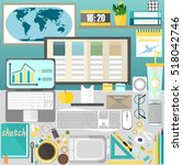 my desktop  business  office | Shutterstock .eps vector #518042746