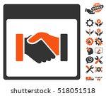 handshake calendar page...   Shutterstock .eps vector #518051518