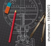 vector technical blueprint of... | Shutterstock .eps vector #518065072