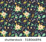 seamless floral pattern with... | Shutterstock .eps vector #518066896
