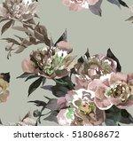4 pink peonies pattern... | Shutterstock . vector #518068672