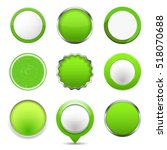 set of green round buttons