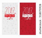 set of two modern style red... | Shutterstock .eps vector #518070928