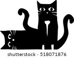Stock vector woodcut style image of two black cats one sitting and the other lying down 518071876