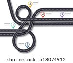 road trip and journey route.... | Shutterstock .eps vector #518074912