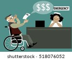 elderly patient in a wheelchair ... | Shutterstock .eps vector #518076052