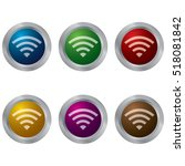 glossy buttons with a wifi icon