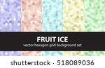 "hexagon pattern set ""fruit ice"".... | Shutterstock .eps vector #518089036"