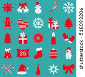 set of christmas and new year... | Shutterstock .eps vector #518093206