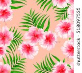 tropical pattern with... | Shutterstock . vector #518097535