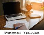 business computer office wooden ...   Shutterstock . vector #518102806