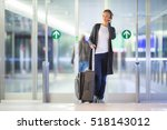 young female passenger at the... | Shutterstock . vector #518143012