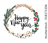 happy new year hand lettering... | Shutterstock .eps vector #518171206