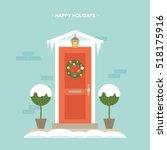 winter front door decorations... | Shutterstock .eps vector #518175916