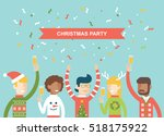 christmas party happy people... | Shutterstock .eps vector #518175922
