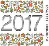 vector metallic numbers 2017 ... | Shutterstock .eps vector #518179306