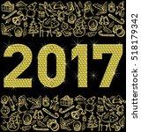 vector diamond numbers 2017 ... | Shutterstock .eps vector #518179342