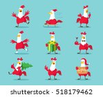 cute cartoon rooster vector... | Shutterstock .eps vector #518179462