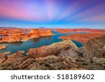 twilight glow above lake powell ... | Shutterstock . vector #518189602